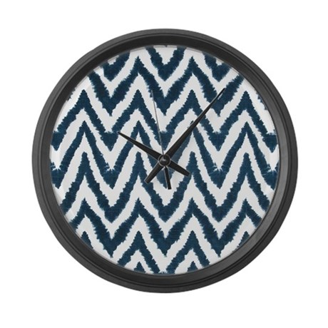 Funky Fuzzy Blue Zigzags Large Wall Clock By
