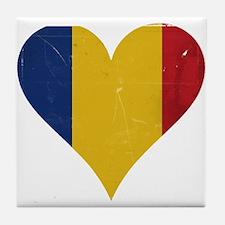 Romania heart Tile Coaster