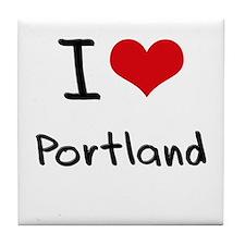 I Heart PORTLAND Tile Coaster