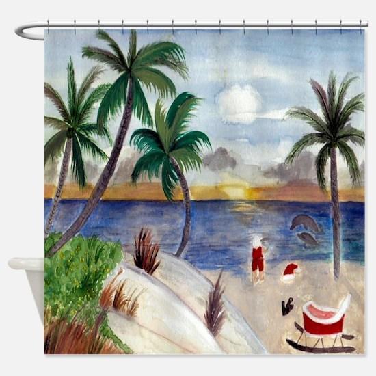 Santas Beach Break Shower Curtain