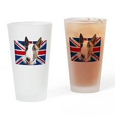 Bull Terrier UK grunge flag Drinking Glass