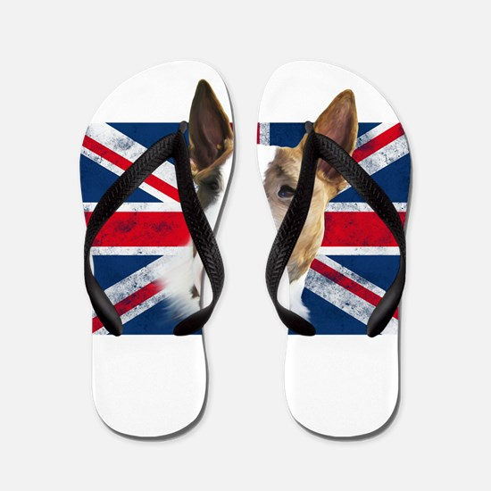 Bull Terrier UK grunge flag Flip Flops