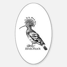 European Hoopoe Bird Wood Cut 1 Oval Decal