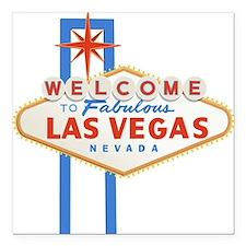 "Las Vegas Sign Square Car Magnet 3"" x 3"""