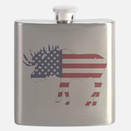 US Flag Moose Flask