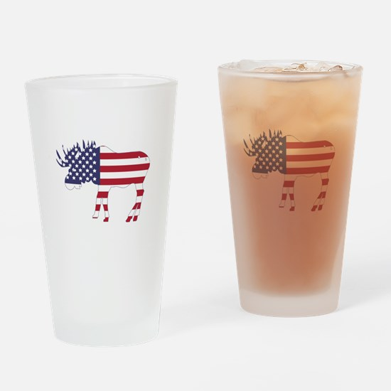 US Flag Moose Drinking Glass