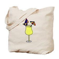 Parrot Sitting on Pina Colada Drink Glass Tote Bag