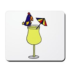 Parrot Sitting on Pina Colada Drink Glass Mousepad