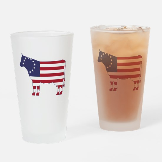 Betsy Ross Flag Cow Icon Drinking Glass