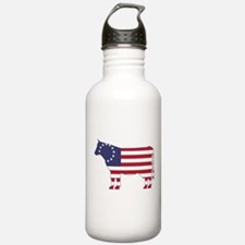 Betsy Ross Flag Cow Icon Water Bottle
