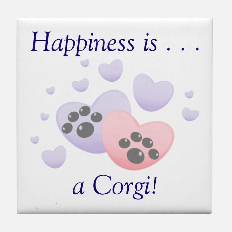 Happiness is...a Corgi Tile Coaster