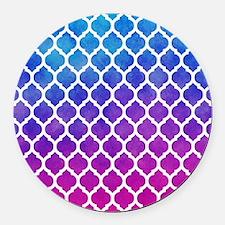 Watercolor Ombre Moroccan Lattice Pattern Round Ca