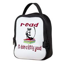 READ IT DOES A KITTY GOOD Neoprene Lunch Bag