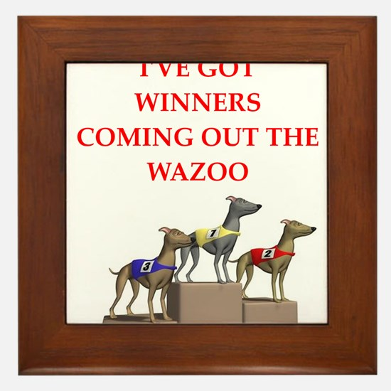 dog racing Framed Tile