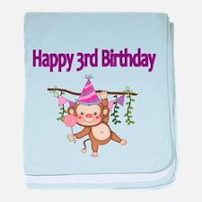 HAPPY 3rd BIRTHDAY WITH CUTE MONKEY baby blanket