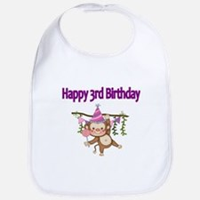 HAPPY 3rd BIRTHDAY WITH CUTE MONKEY Bib