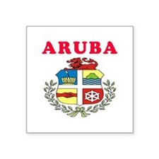 "Aruba Coat Of Arms Designs Square Sticker 3"" x 3"""