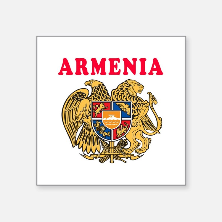 "Armenia Coat Of Arms Designs Square Sticker 3"" x 3"