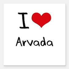 "I Heart ARVADA Square Car Magnet 3"" x 3"""