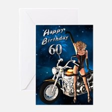 60th birthday sexy biker Greeting Card