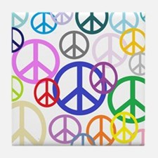 Peace Sign Collage Tile Coaster