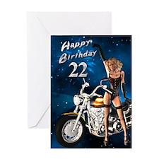 22nd birthday sexy biker Greeting Card