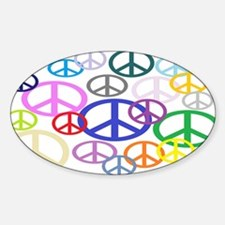 Peace Sign Collage Sticker (Oval)