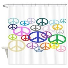 Peace Sign Collage Shower Curtain
