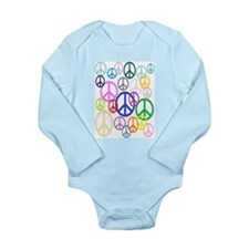 Peace Sign Collage Long Sleeve Infant Bodysuit