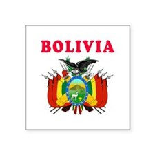 "Bolivia Coat Of Arms Designs Square Sticker 3"" x 3"