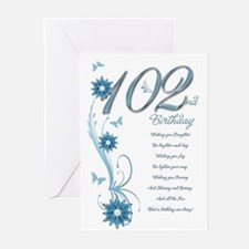 102nd birthday in teal Greeting Cards (Pk of 20)