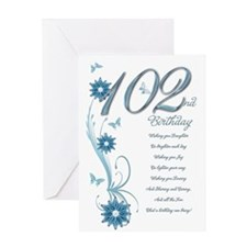 102nd birthday in teal Greeting Card
