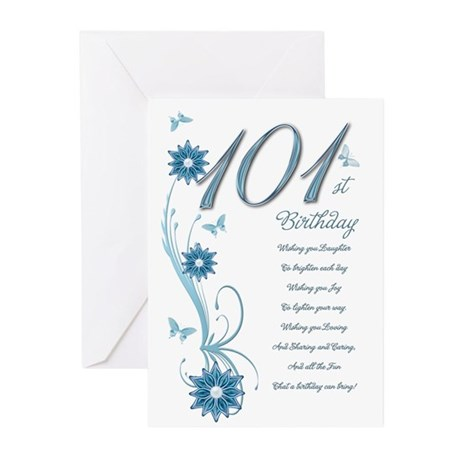 101st birthday in teal Greeting Cards (Pk of 20)