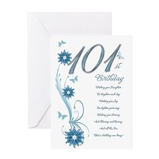 101st birthday in teal Greeting Card