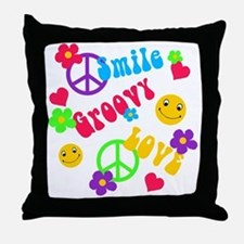 smile groovy love.png Throw Pillow