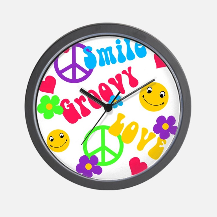 smile groovy love.png Wall Clock