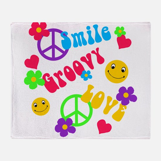 smile groovy love.png Throw Blanket