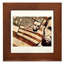 President Abraham Lincoln Patriotic Flag Framed Ti