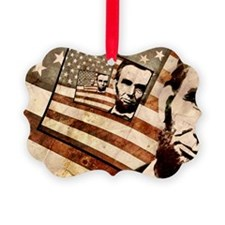 President Abraham Lincoln Patriotic Flag Ornament