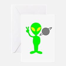 Space Alien Greeting Card