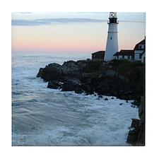 Portland Head Lighthouse at Sunset Tile Coaster