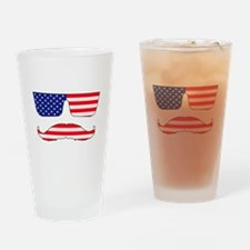 Cool mustache patriot Drinking Glass