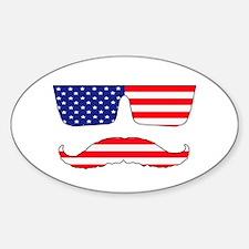 Cool mustache patriot Sticker (Oval)