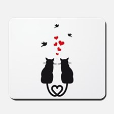 cats in love with hearts and birds Mousepad