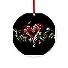 Dark Scribbly Heart Ornament (Round)
