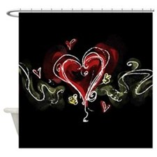 Dark Scribbly Heart Shower Curtain