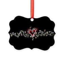 Dark Scribbly Heart Ornament