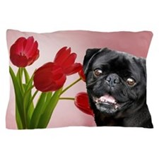 Black pug and tulips Pillow Case