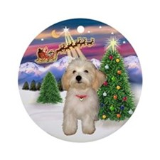 Santa's Take Off & Havanese puppy Ornament (Round)