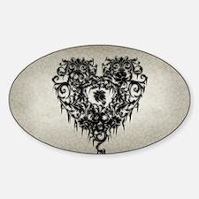 Ornate Gothic Heart Sticker (Oval)